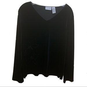 Jaclyn Smith Velvet Long Sleeve Top Black Sz Large
